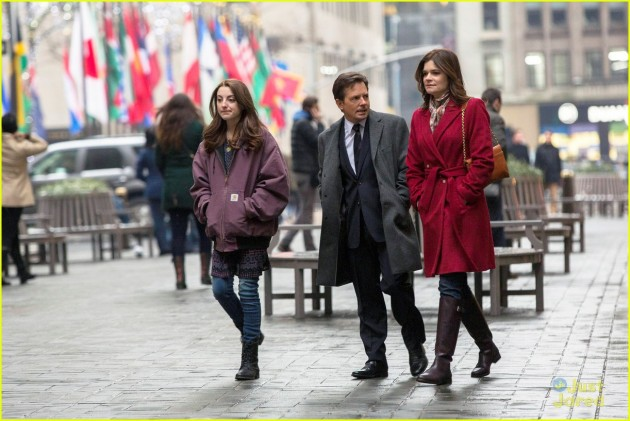 THE MICHAEL J. FOX SHOW -- Pilot -- Pictured: (l-r) Juliette Goglia as Eve Henry, Michael J. Fox as Mike Henry, Betsy Brandt as Annie Henry -- (Photo by: Eric Liebowitz/NBC)